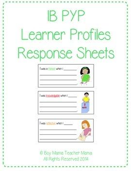 IB PYP Learner Profile Response Sheets