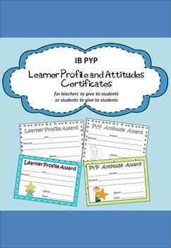 IB PYP Learner Profile and Attitudes Certificates