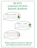 IB PYP Learner Profiles Speech Bubbles