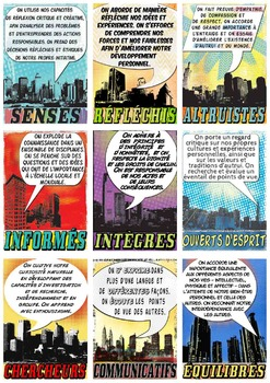 IB PYP & MYP Learner Profile SUPER Poster Cards in French for A4 Paper