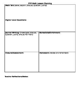 IB PYP Math Lesson Plan Template