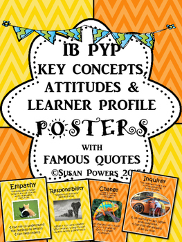 IB PYP Posters of Key Concepts, Learner Profile & Attitudes with Authors' Quotes