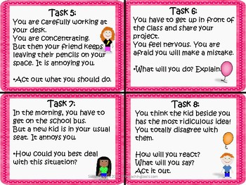 IB PYP Social Skills Task Cards for Growth Mindset