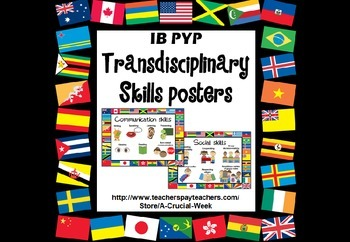 IB PYP Transdisciplinary Skills Posters (world flags edition)