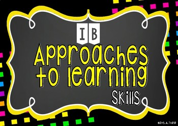 IB PYP Transdisciplinary Skills classroom set in bright / neon style.