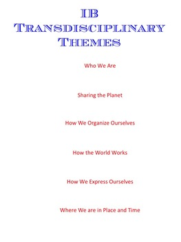 IB PYP Transdisciplinary Theme Planning Pages - Free