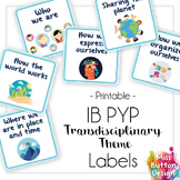 IB PYP Transdisciplinary Theme Square Labels