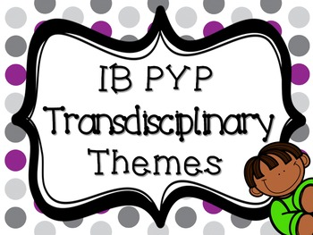 IB PYP Transdisciplinary Themes - PURPLE AND GREY POLKA DOT