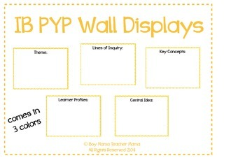 IB PYP Wall Display Boards