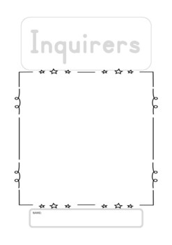IB PYP create learner profile cover sheets, drawing poster sheets