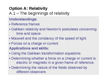 IB Physics Option A.1 - The beginnings of relativity