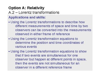 IB Physics Option A.2 - Lorentz transformations