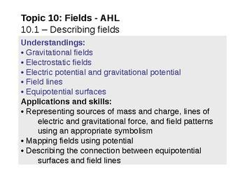IB Physics Topic 10.1 - Describing fields - AHL