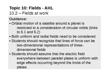 IB Physics Topic 10.2 - Fields at work - AHL
