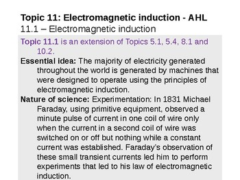 IB Physics Topic 11.1 - Electromagnetic induction - AHL