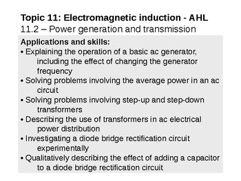 IB Physics Topic 11.2 - Power generation and transmission - AHL