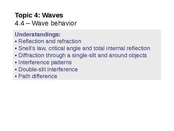IB Physics Topic 4.4 - Wave behavior