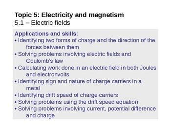 IB Physics Topic 5.1 - Electric fields