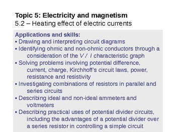 IB Physics Topic 5.2 - Heating effect of electric currents