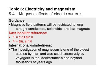 IB Physics Topic 5.4 - Magnetic effects of electric currents