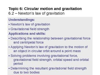 IB Physics Topic 6.2 - Newtons law of gravitation