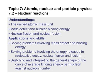 IB Physics Topic 7.2 - Nuclear reactions