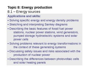 IB Physics Topic 8.1 - Energy sources