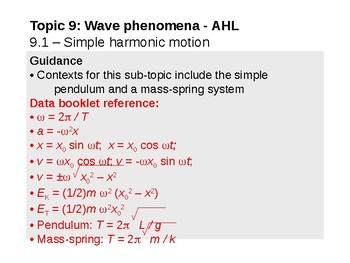 IB Physics Topic 9.1 - Simple harmonic motion - AHL