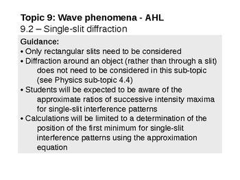 IB Physics Topic 9.2 - Single-slit diffraction - AHL