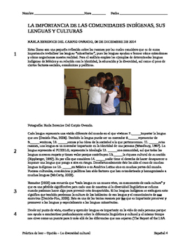 IB Practice Reading - Cultural Diversity