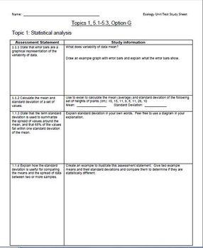 IB-SL Biology Unit Study Guides