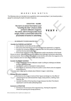 IB Language and Literature SL Mock Paper 1 and Marking Notes