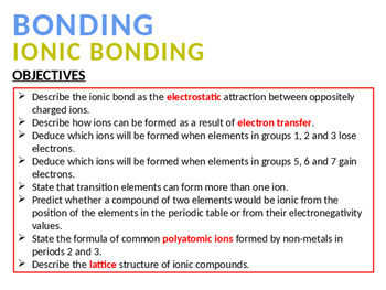 CHEMISTRY NOTES ON IONIC BONDING
