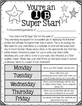 IB Super Star Award {Student of the Week}