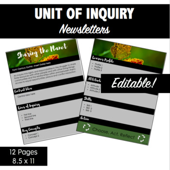 IB Units of Inquiry: Editable Newsletters