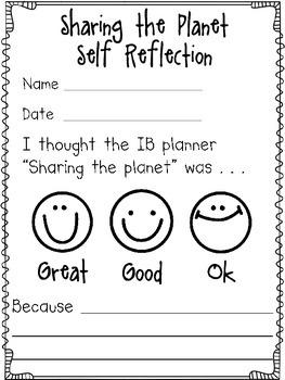 IB transdisciplinary theme self reflection sheet