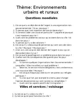 IBDP French Ab initio oral: Environnements urbains et ruraux