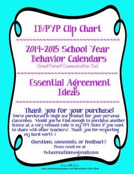 IB/PYP Chevron Clip Chart ~ Essential Agreement Ideas ~EDITABLE 16/17 Calendars!