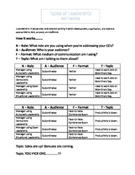 IBT: Leadership Styles: RAFT Activity