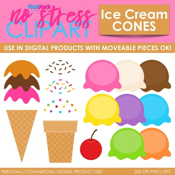 ICE CREAM Clipart Plus Digital Papers BUNDLE