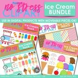 ICE CREAM Clipart Plus Digital Papers BUNDLE