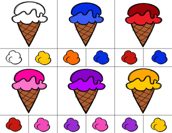 ICE CREAM Color Match Clip It {A Beginning Work Task)