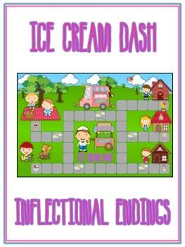 ICE CREAM DASH Inflectional Word Endings - ELA First Grade Game - Word Work