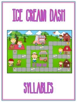ICE CREAM DASH Syllables - ELA First Grade Folder Game - Word Work Center