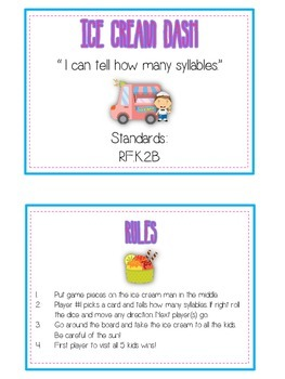 ICE CREAM DASH Syllables - ELA First Grade Folder Game - Word Work Center