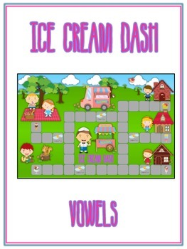 ICE CREAM DASH Vowels- ELA First Grade Folder Game - Word