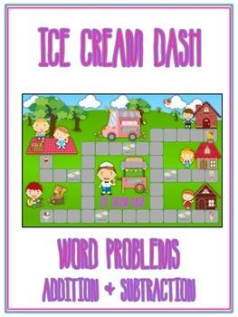 ICE CREAM DASH - Word Problems Adding & Subtracting - Math Folder Game