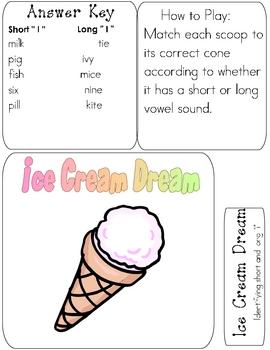 ICE CREAM DREAM File Folder Phonics Game- short/long i reading