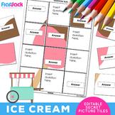 ICE CREAM EDITABLE Worksheets | Secret Picture Tiles
