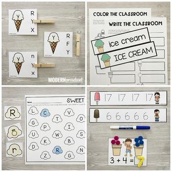 ICE CREAM Literacy & Math Centers for Summer (Preschool, PreK, Kindergarten)